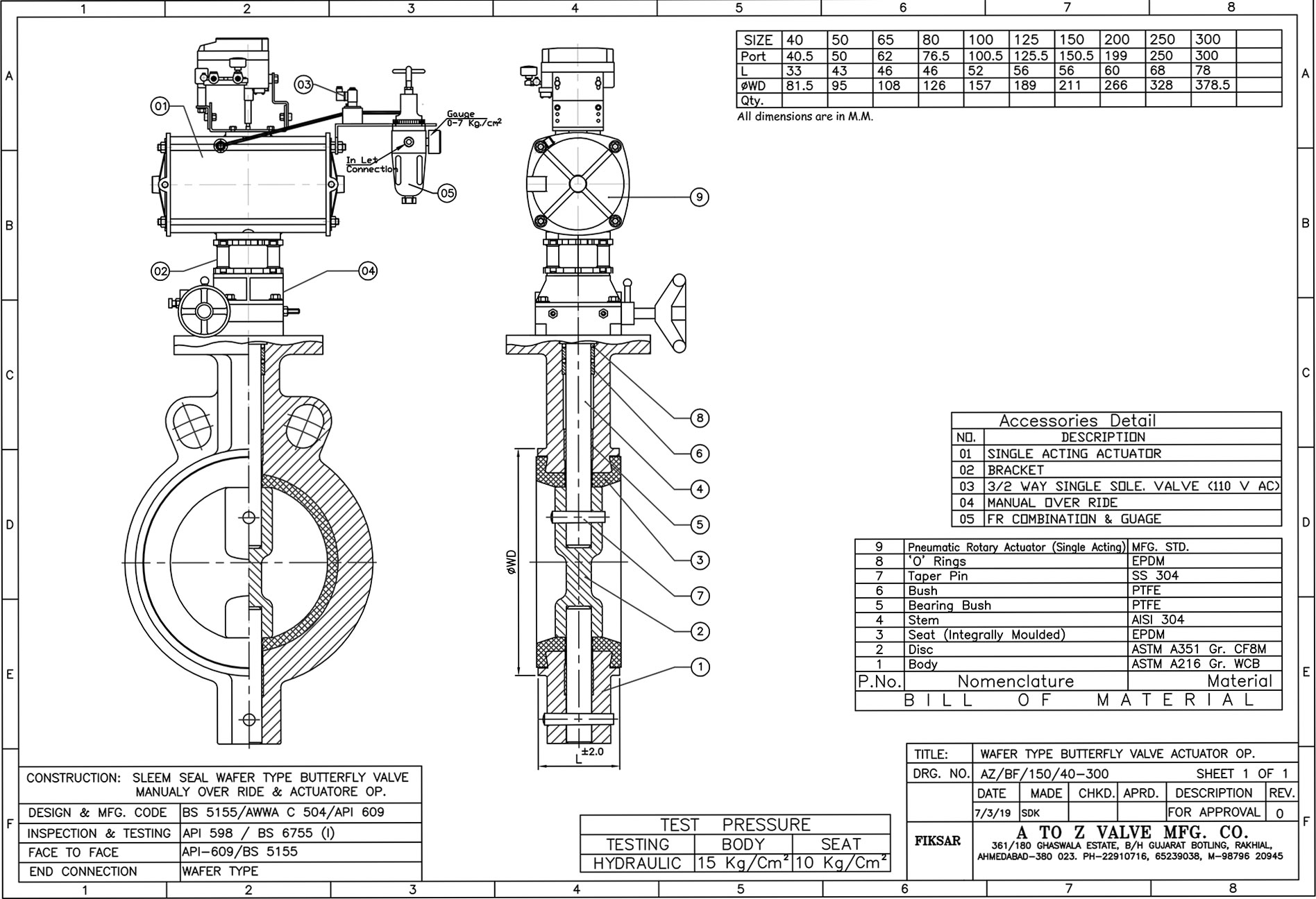 Butterfly Valve Pneumatic Actuator Operated